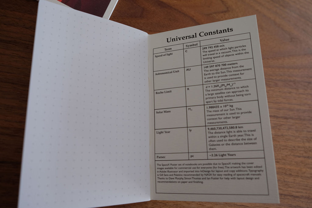 SpaceX Notebooks Universal Constants back inner cover