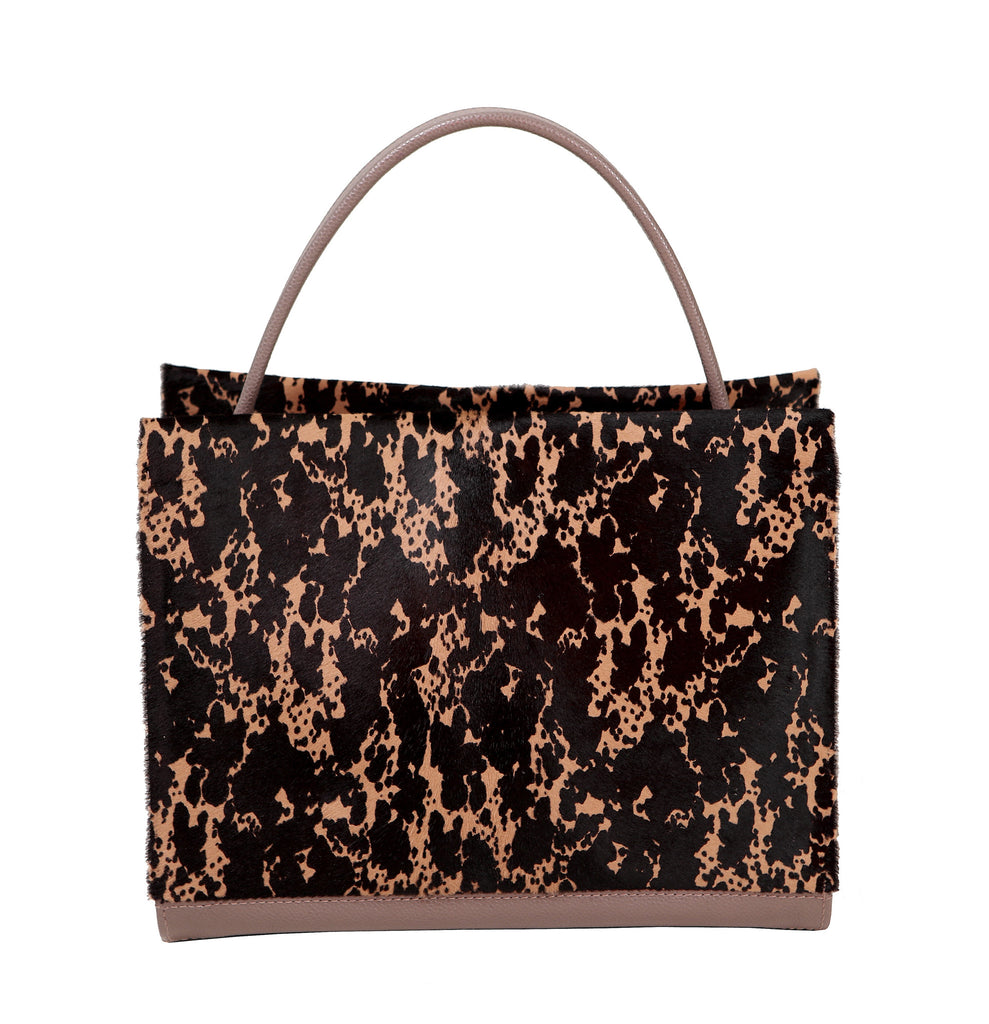 Classic style leather handbag with printed leather