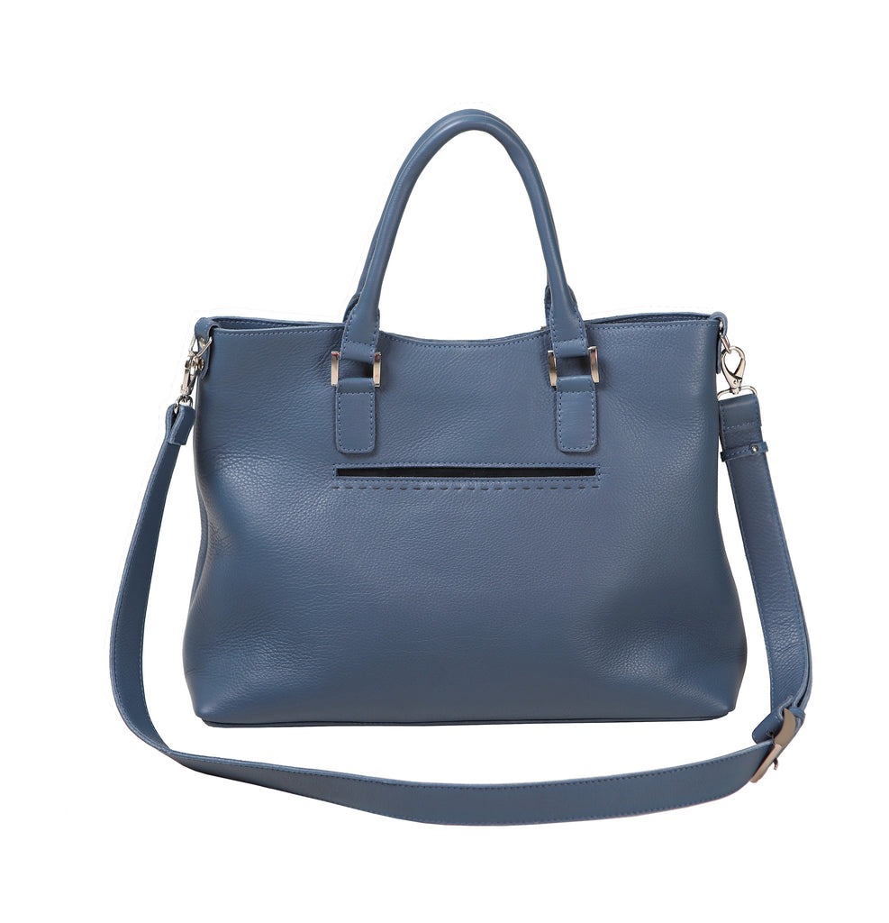 Classic style leather handbag with zipped pocket