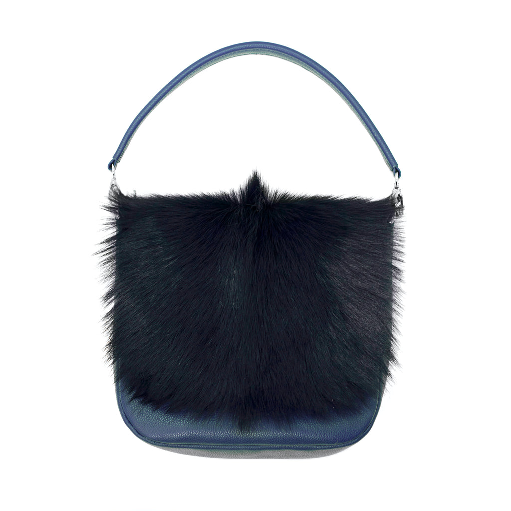 Leather handbag with goat hide on the front