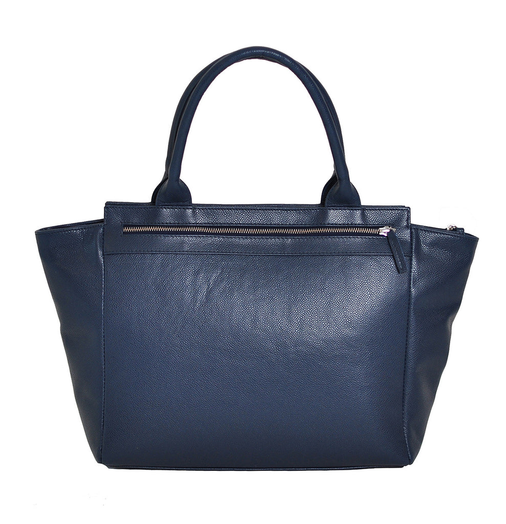 Classic style leather handbag with large pocket