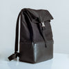 Large leather & canvas backpack