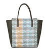 Leather weekend bag with textile design