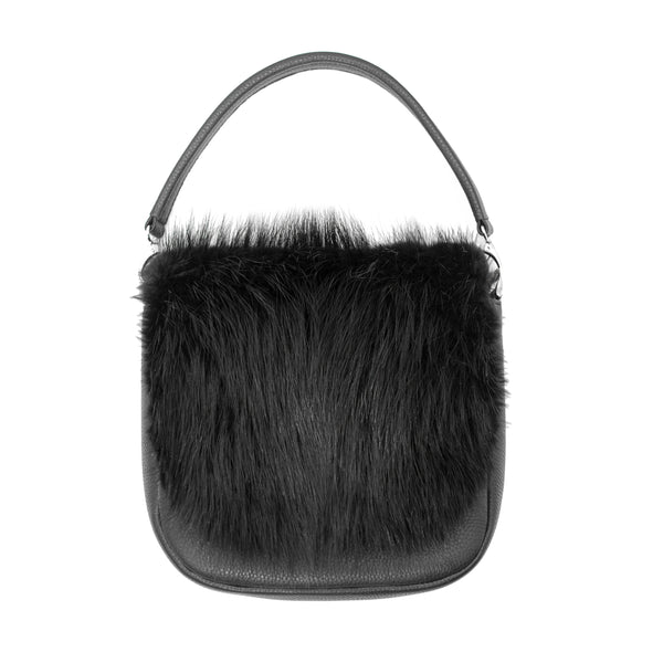 Leather handbag with beaver leather on the front