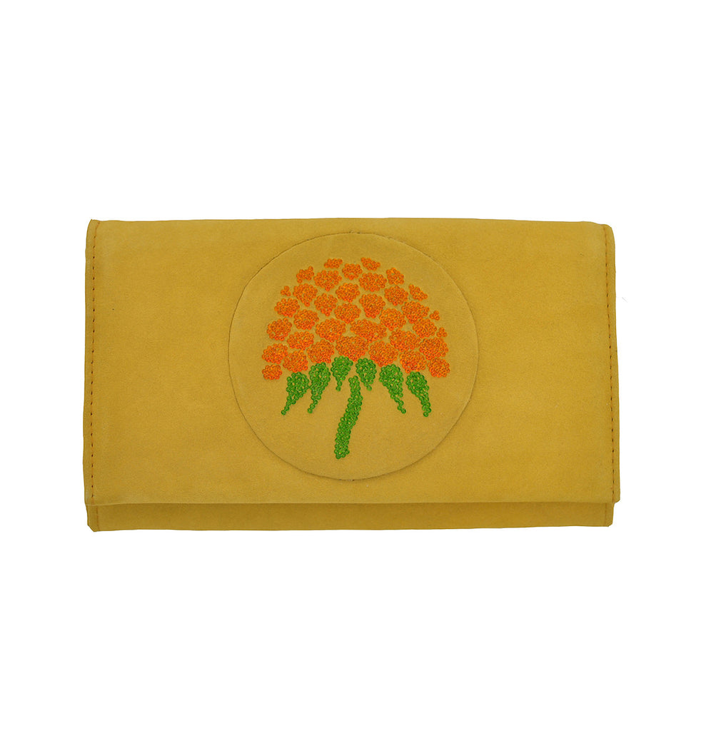 Ladies clutch with a hand-sewn graphic