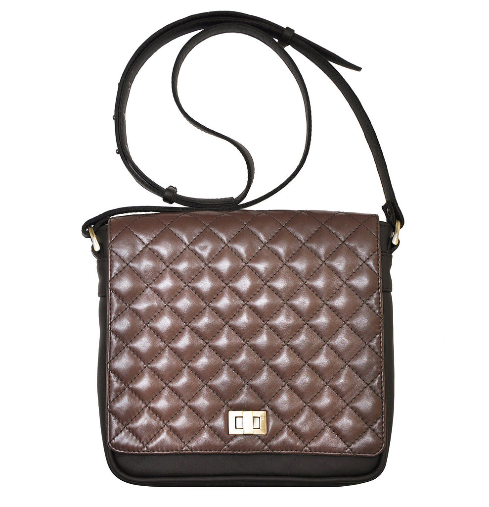 Quilted leather bag with shoulder strap