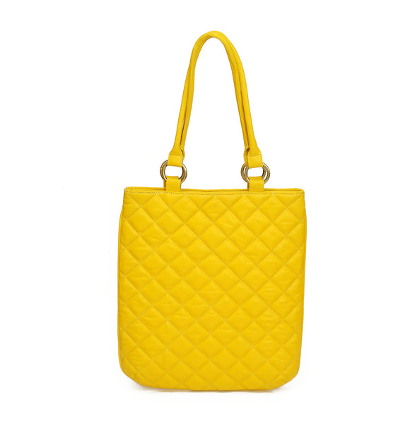 Quilted spring leather handbag
