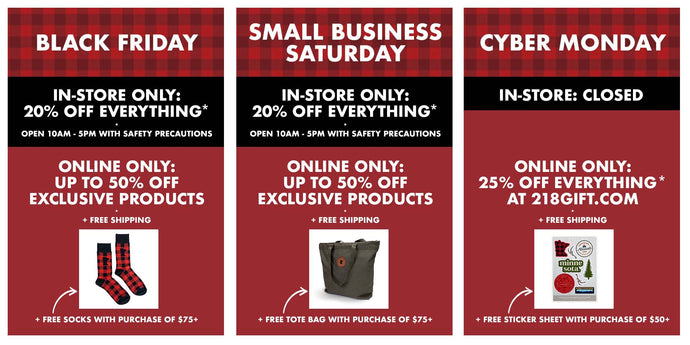 Black Friday, Small Business Saturday, and Cyber Monday Sales 2020