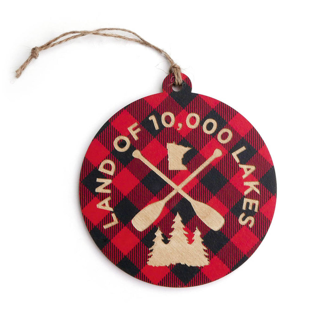 Land of 10,000 Lakes Plaid Ornament