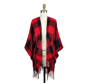 Buffalo Plaid Tassel Poncho - Red/Black