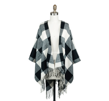 Load image into Gallery viewer, Checkered fall poncho