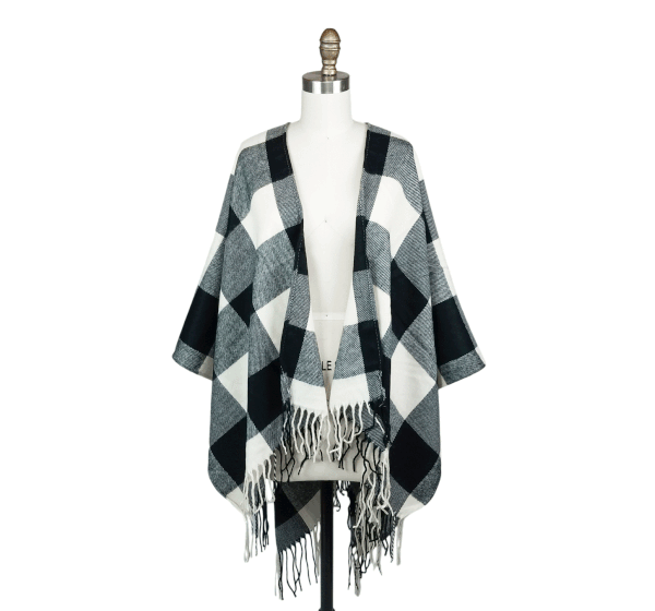 Checkered fall poncho