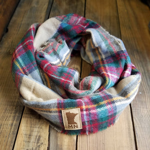 MN Patch Plaid Infinity Scarf - Multi-colored