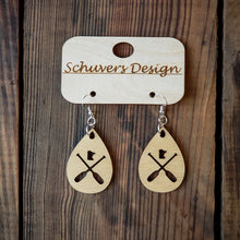 Load image into Gallery viewer, MN Paddle Wooden Earrings - Natural Wood