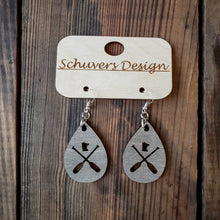 Load image into Gallery viewer, MN Paddle Wooden Earrings - Grey