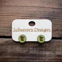 Load image into Gallery viewer, MN Wooden Stud Earrings - Green