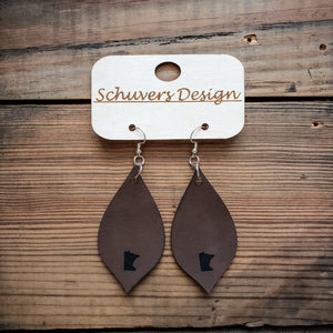 MN Faux Leather Earrings - Brown