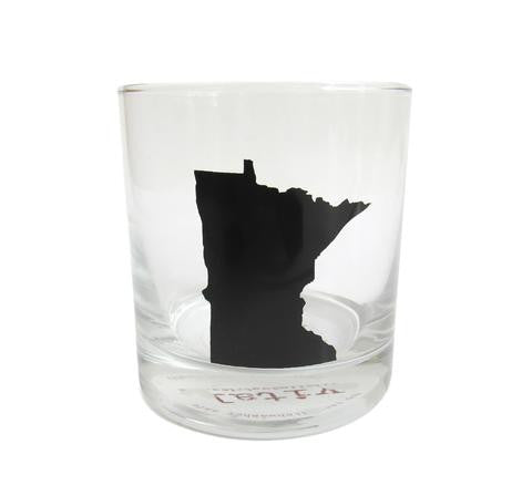 Minnesota State Rocks Glass - Black