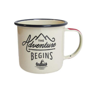 Cream Adventure Begins Enamel Mug