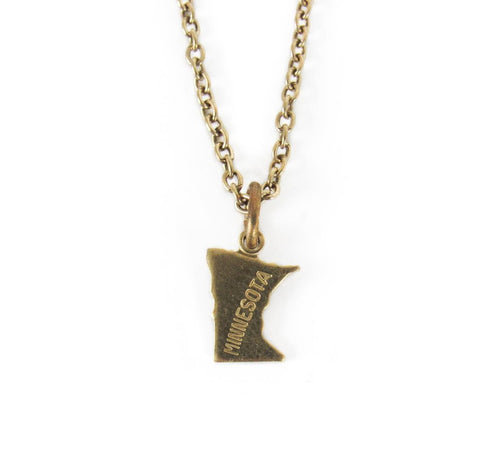 Brass MN State Necklace