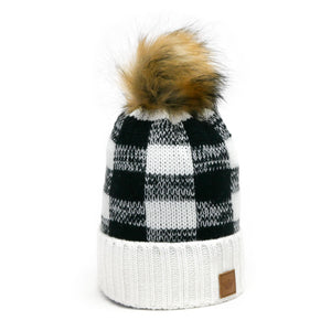 Buffalo Plaid Pom Hat - White and Black