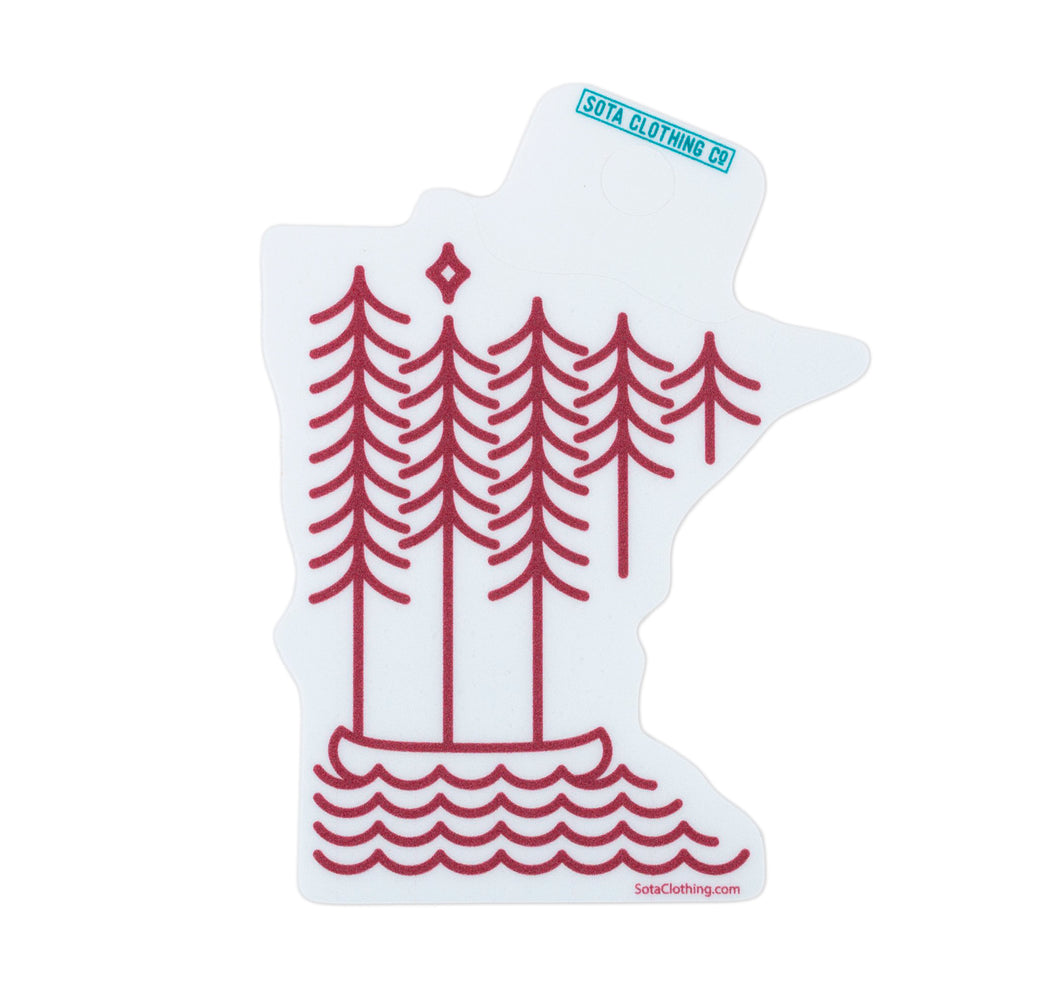 Boundary Waters Sticker - Maroon/White