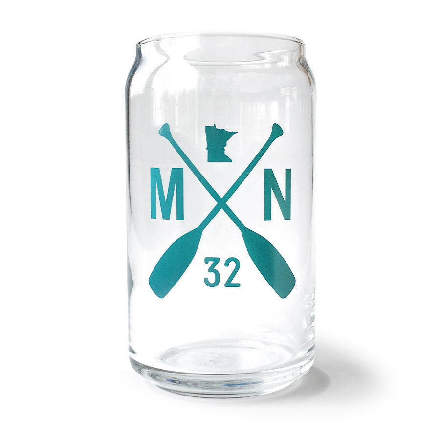 Minnesota Beer Glass, Teal logo