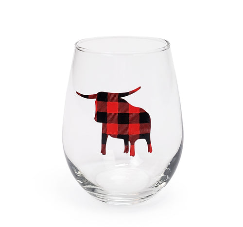 Plaid Babe Wine Glass