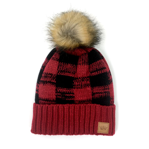 Buffalo Plaid Pom Hat - Red and Black