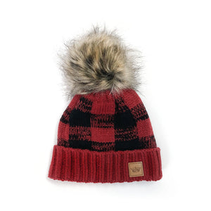 Buffalo Plaid Pom Hat - Toddler and Kids