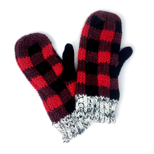 Buffalo Plaid Knit Mittens