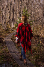 Load image into Gallery viewer, Buffalo Plaid Tassel Poncho - Red/Black