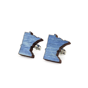 Minnesota Wooden Earrings - Blue