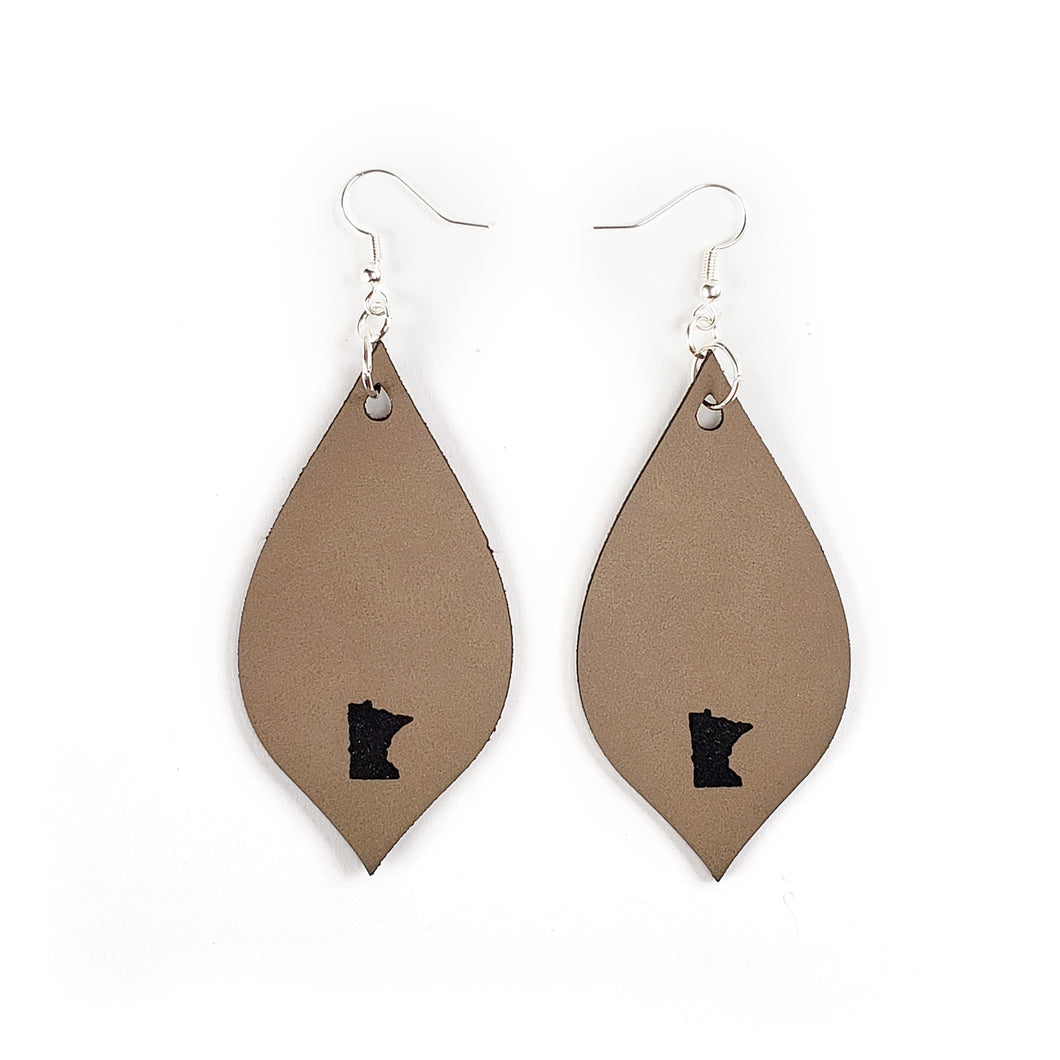 MN Faux Leather Earrings - Tan