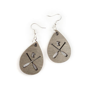 MN Paddle Wooden Earrings - Grey