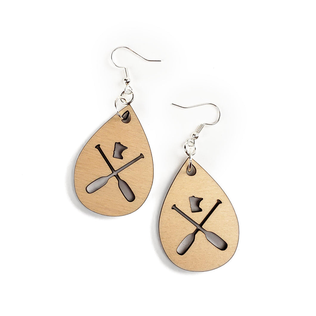 MN Paddle Wooden Earrings - Natural Wood