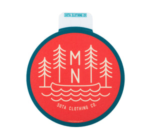 MN Trees Circle Sticker - Red/Green