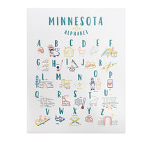 Load image into Gallery viewer, Minnesota Alphabet Paper Print