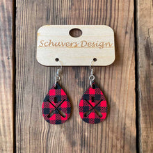 Load image into Gallery viewer, MN Paddle Wooden Earrings - Buffalo Plaid