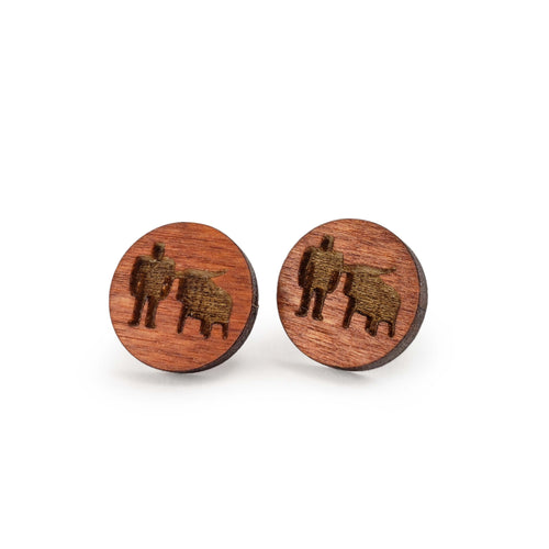Paul + Babe Wooden Stud Earrings - Brown