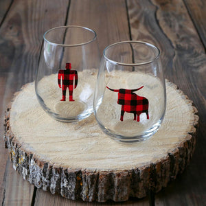 Plaid Paul Bunyan Wine Glass
