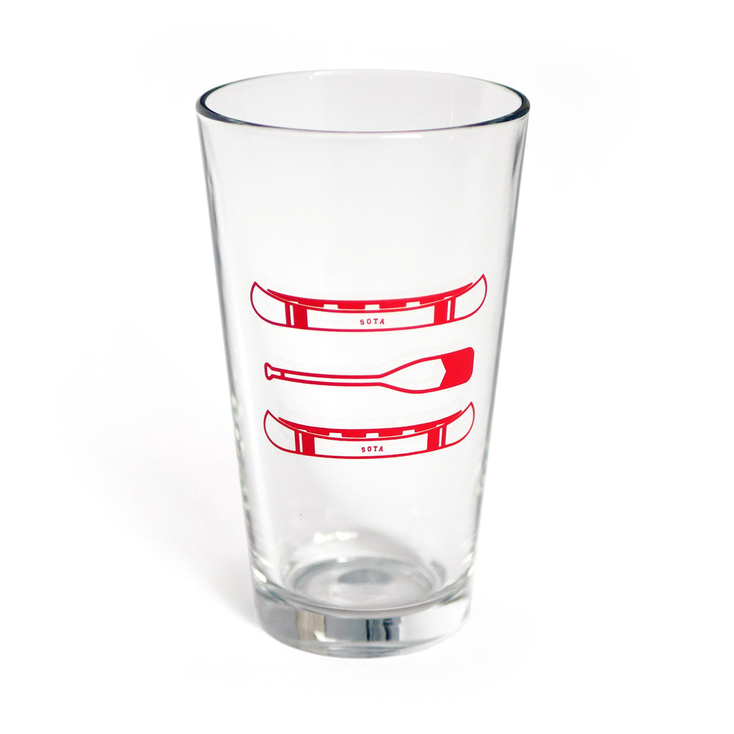 Pioneer Pint glass, Red Canoe Design