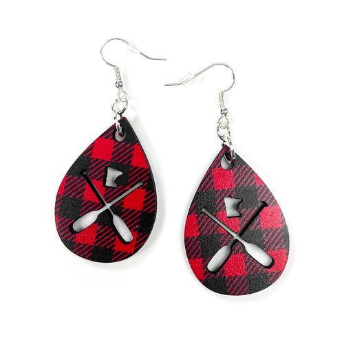 MN Paddle Wooden Earrings - Buffalo Plaid