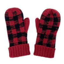 Load image into Gallery viewer, Buffalo Plaid Mittens - Red and Black