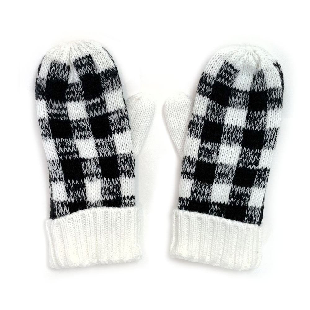 Buffalo Plaid Mittens - White and Black