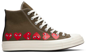 Comme des Garçons Play x Chuck 70 Hi Top 'Multi Heart' (Brown)