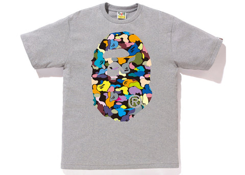 Bape Multi Camo Big Ape Head Tee (Gray)