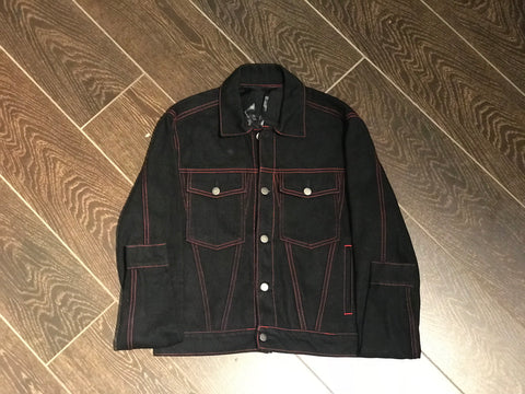 Vlone Stripper Denim Jacket (Black/Red)