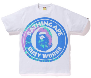 bb4689c2 Bape Pigment Tie Dye Busy Works Tee (White/Blue)