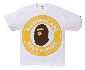 BAPE Pigment Busy Works Tee White/Yellow